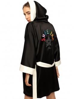 Sheezika, satin hooded robe