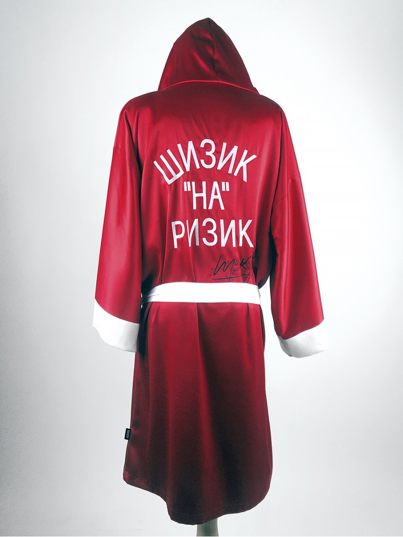RED, men's satin hooded robe