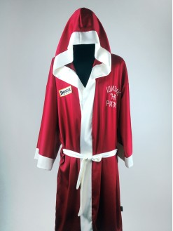 RED, men's satin hooded robe