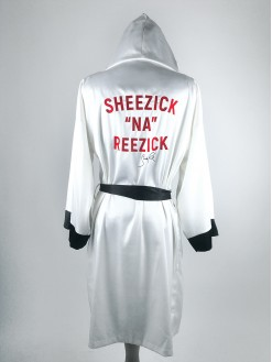 WHITE, men's satin hooded robe