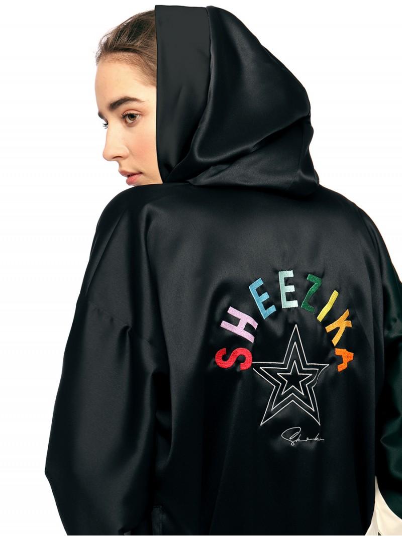 3star Sheezika, women's satin hooded robe