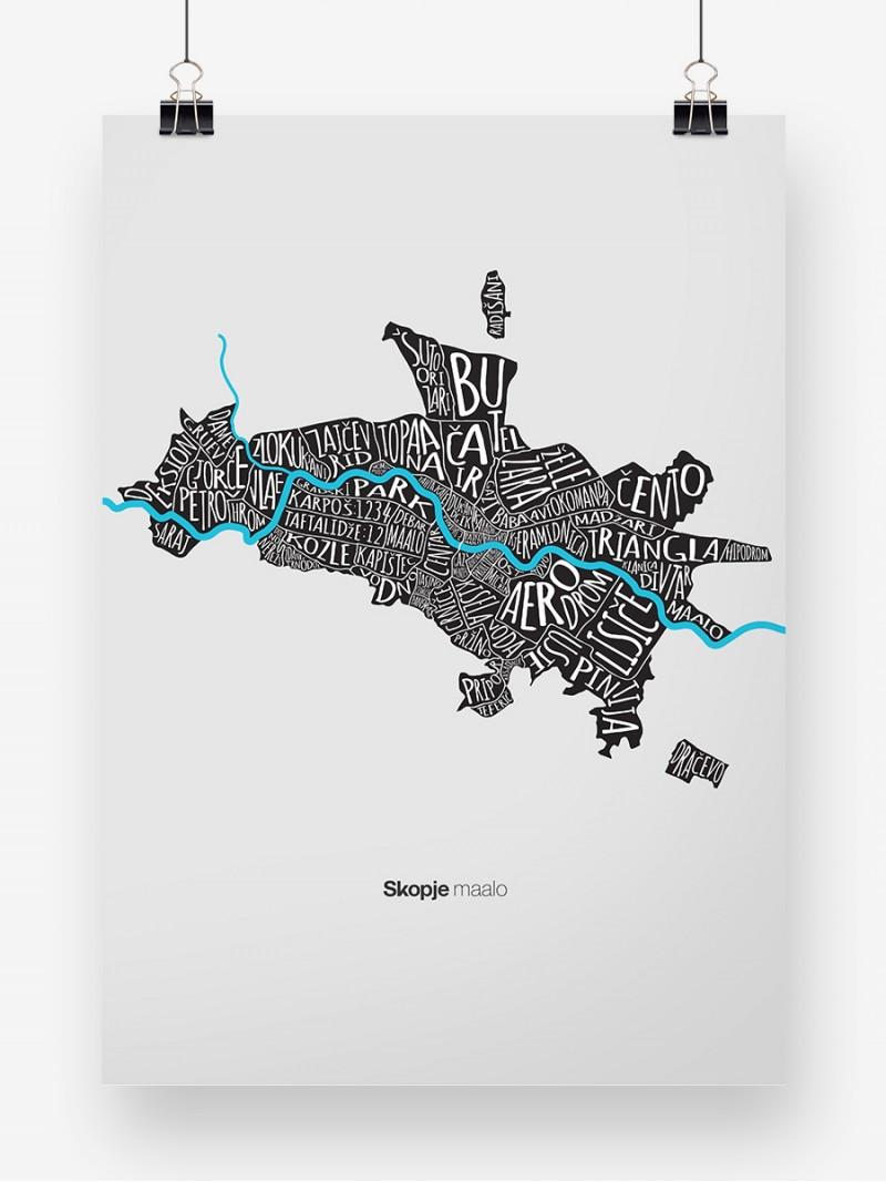 Skopje maalo white, poster