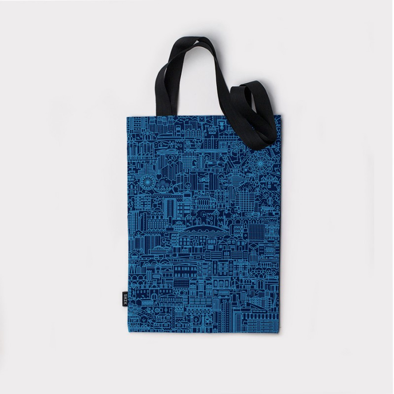 SKP Blueprint, blue tote bag